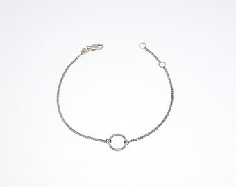 Mini Simple Circle Sterling Silver Bracelet