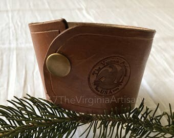 Leather Coffee Sleeve - Handmade Leather Gifts -Brown