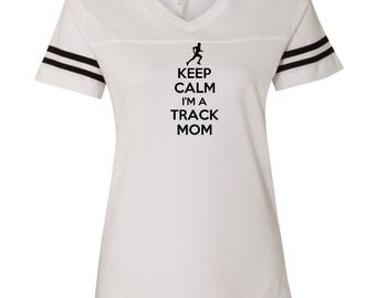 Keep Calm I'm A Track Mom LAT - Women's Football V-Neck Fine Jersey Tee - 3537