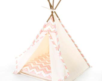 Limited Edition // Cat teepee: Gold and pink chevron