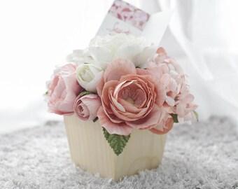 Wooden Pot Flowers,Paper Flower Deco,Mini Pot Flower