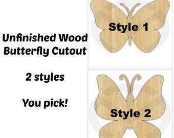 Unfinished Wood Butterfly Door Hanger Laser Cutout , Home Decor, Ready to Paint & Personalize, Spring, Summer, Various Sizes and Styles