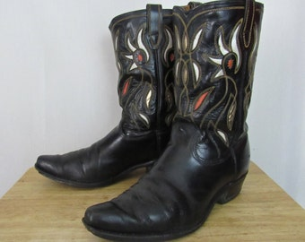 Vintage ACME Inlaid Cowboy Boots ~ 10 E ~ Cut-Outs / Inlay ~ Black ~ Western ~ Rockabilly