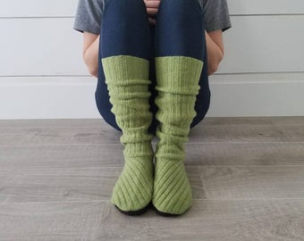 "Lime Green Sweater Socks // Size 5-8, 17"" Tall // Cabin Socks // upcycled wool sweater // Washable // Thick felted wool sole"