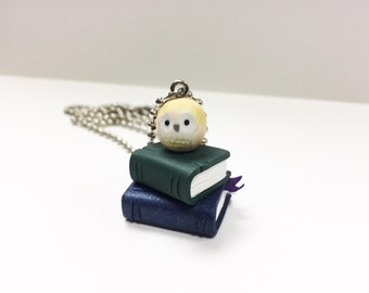 Yellow Owl Resting On Books Polymer Clay Necklace