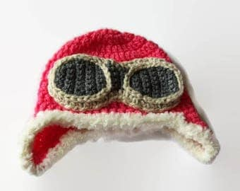 Crochet Toddler  Hat - Handmade Hats for Baby - Pilot Hat - Crochet Aviator Hat - Hat with Goggles - Crochet Costume Hats / Baby Aviator Hat