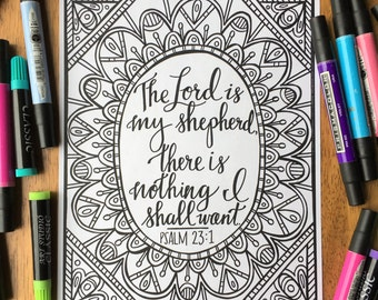 Adult Coloring Page - The Lord Is My Shepherd - Printable Coloring Page for Adults - Christian Coloring Page - Scripture Coloring Page