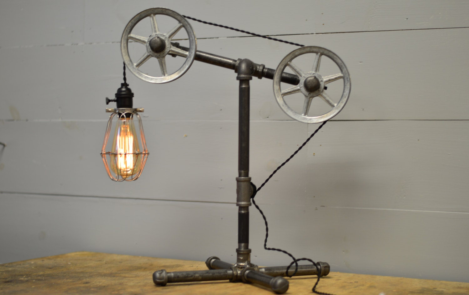 Industrial Table Lamp Table Light Pulley Light