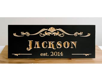 Last name and established date carved sign. Wedding gift, anniversary gift. Painted sign carved on solid maple.