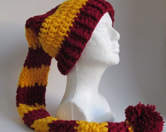 "36"" Long toboggan hat~Maroon and yellow stripes Santa, elf pixie stocking cap, big pom pom, FREE SHIPPING"
