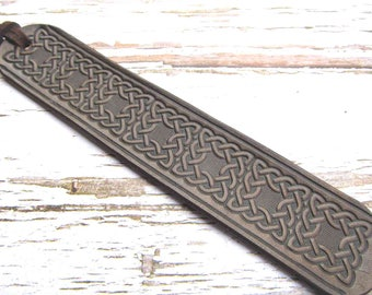 Celtic Leather Bookmark-Tooled Leather Book Mark-Fantasy Bookmarks-Birthday-Anniversary-Christmas-Leather Gifts-Book Accessories-Canada