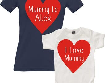 Mummy To (Name) Womens Fitted T-shirt and I Love mummy Baby Bodysuit