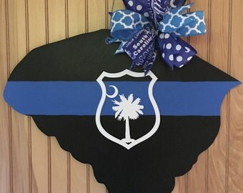 Back The Blue wooden door hanger