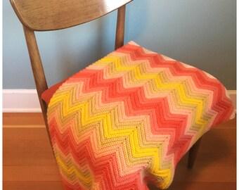 Vintage Handmade Crocheted Ripple Afghan Blanket,  Beautiful 60x41 Inch Afghan Crocheted Blanket Or Throw.