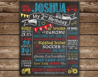 Second Birthday Chalkboard, 2nd Birthday Sign, Printable Chalk Poster, 2nd Birthday Sign, Trucks, Trains, Custom Colors and Theme