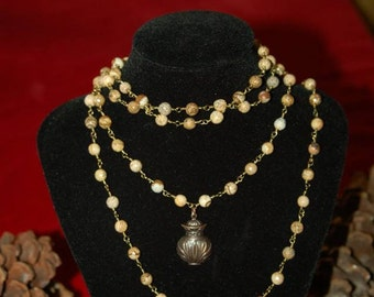 Adjustable double necklace with brass charm (A71)