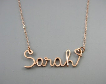 Rose Gold Name Necklace with a Tiny Heart - personalized script word, custom cursive wire pendant with delicate rose gold filled chain