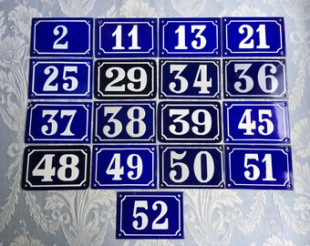 House number enamel, French vintage, blue and white plaque 1-52 house numbers authentic 1940's hotel room, industrial loft deco, Parisienne.