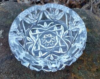 Vintage Pressed Glass Crystal Ashtray, ( D )