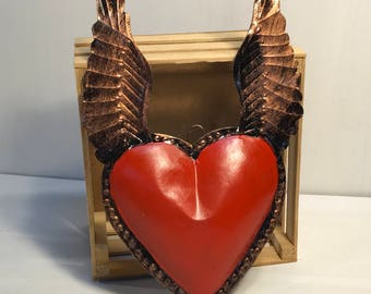 Mexican Punched Tin Heart- wall decor