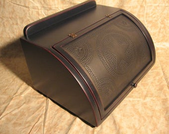 Antigue breadbox edge distressed black over red kettle black star punched tin - FREE SHIPPING