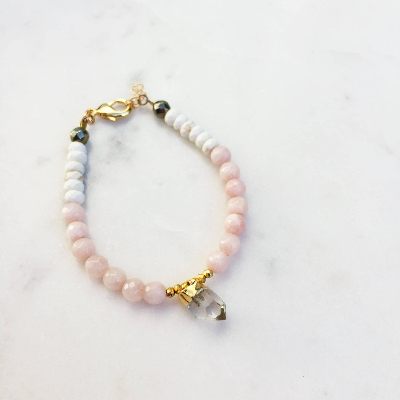 Peach Agate Crystal Bracelet| Raw Gemstones | Beaded Bracelet |