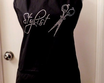 HAIR STYLIST apron with shears  red and white polka dot trim