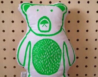 Cushion - Green Bear Cushion - Bear Print - Bear Pillow - Green Bear