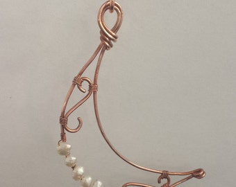 Handmade copper moon pendant necklace with pearl accents