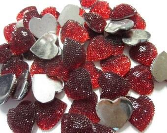 Red Hearts, Red Glitter Hearts, Sparkling Hearts, Scrapbooking Hearts, Heart Flat Backs, Kawaii Heart Cabochons, Red Heart Confetti - 20 pcs