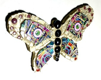 Butterfly Mosaic Art, Colorful Moth Mixed Media Wall Hanging, Rainbow Hippie Nature Decor