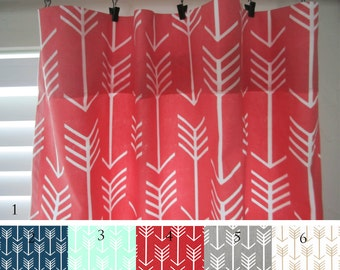 Arrow Curtain Panels, Coral, Navy, Mint, Red, Gray, Gold, Pair of Curtain Panels, Tribal Arrow Curtains, Home Decor, Window Covering