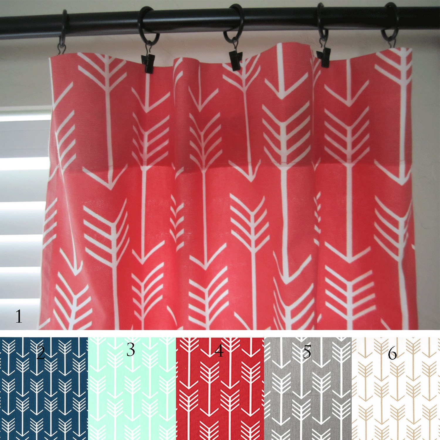 Red patterned curtains - Arrow Curtain Panels Coral Navy Mint Red Gray Gold