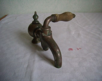 Antique faucet of House in brass/bronze, Rare kitchen faucet or bathroom, french Vintage, 1920