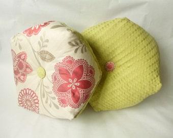 Biscornu Cushion pink or peach flowers