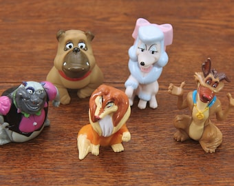 1980s McDonald's / Wendy's Happy Meal Toys ~ Lot of 5 Dogs ~ Movie Characters from Oliver & Company and All Dogs Go to Heaven ~ Cute!