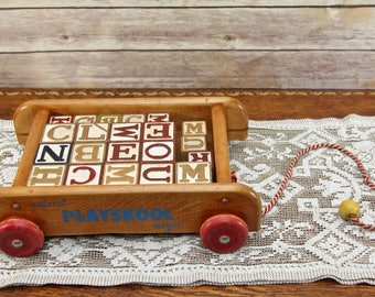 1950's Colorol Playskool Wagon with Wood Letter Blocks | Beautiful Wagon in Excellent Condition! | Nice, Old Wood Toys!