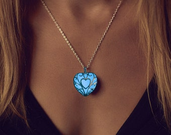 Blue Glowing Necklace - Glowing Heart Necklace - Anniversary Gift - Wedding Gift - Best Friend - Graduation Gift - Glow Necklace - Blue Glow