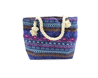 Classic bag, rope handle, Balinese, blue, pink, purple, shopping bag, beach bag
