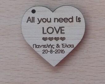 Wedding Tags | All you need is love | Wood Wedding Tags | Wood Wedding Hearts | Wood Wedding Favors |  Wedding Favors  | Wedding Decoration|
