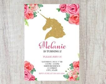 Unicorn Birthday Invitation | Unicorn Invitation | Floral Unicorn Invitation | Unicorn Party | Party Invitation | Gold Unicorn Invite