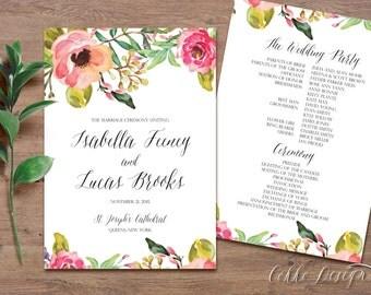 """Printable Wedding Ceremony Program """"Isabella"""" - Watercolor flowers, Floral (DIY )"""