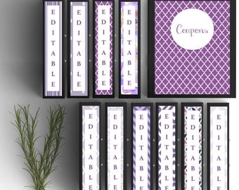 Set of 10-Binder Covers- Purple- Personalized Binder Inserts and Spines (8.5x11in)- Printable Binder Covers-Editable