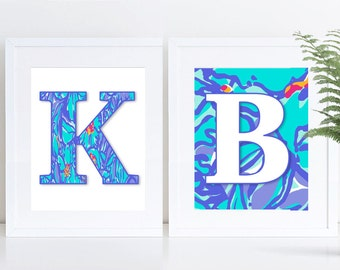 "Lilly Pulitzer Inspired ALPHABET; Personalized; Mai Tai; PRINTABLE; 8""x10"" and 5""x7"""