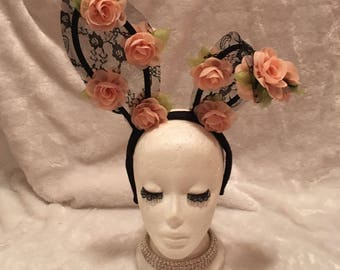 Black Lace Bunny Ears with Peach Flowers. Burlesque Cabaret Vintage Shabby Chic Boho Costume Accessory