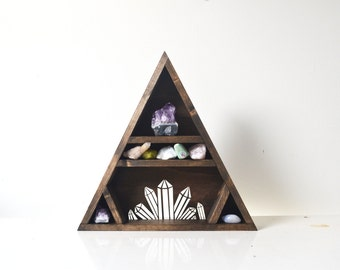 Triangle Shelf, Crystal Shelf, Geometric Shelf - Crystal Cluster Shelf