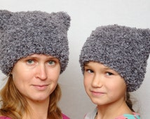 Winter hat Kids hat Mommy and me Gift for kids gift Cat hat mother daughter ear hat knit hat gift for women girls hats boys hats toddler hat