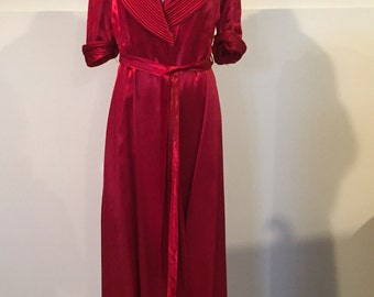 1940s Womens Robe, Vintage 50s Satin Dressing Gown, Ruby Red House Coat, 50s Bath Robe