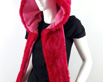 Furry Fluffy Animal Hood, Fluffy Ears,Fluffy Scarf,Gloves, Glow in the Dark Paws All in One Scoodie. Rave Hood, Festival Hood