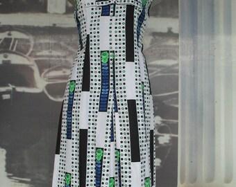 60s piquet A-line dress/Bow on breast/Taylored/Made in Italy/Size 8-10 US/Vestito  piquet anni 60.Fatto su misura/Fiocco sul seno/Tg. 44-46